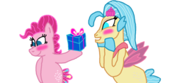 Size: 1300x607 | Tagged: artist:bigpurplemuppet99, blushing, female, lesbian, pinkie pie, present, princess skystar, safe, seaponified, seapony (g4), seapony pinkie pie, shipping, skypie, species swap