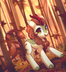 Size: 2523x2762 | Tagged: dead source, safe, artist:mirroredsea, autumn blaze, kirin, sounds of silence, autumn, awwtumn blaze, cloven hooves, cute, female, forest, leaves, leonine tail, solo, tree