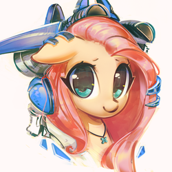 Size: 2523x2523 | Tagged: safe, artist:mirroredsea, fluttershy, pony, cute, female, headphones, jewelry, looking at you, mare, mecha, necklace, shyabetes, simple background, smiling, solo, white background