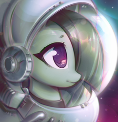 Size: 2907x3002 | Tagged: dead source, safe, artist:mirroredsea, marble pie, earth pony, pony, astronaut, colored pupils, cute, female, frown, hair over one eye, helmet, looking at something, marblebetes, mare, solo, space, space helmet, spacesuit, sweet dreams fuel