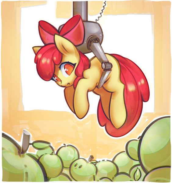 Size: 2600x2765 | Tagged: adorabloom, apple, apple bloom, artist:mirroredsea, blank flank, bow, c:, claw machine, confused, crane game, cute, earth pony, event horizon of cuteness, featured image, female, filly, food, green apple, hair bow, holding a pony, looking down, no pupils, :o, open mouth, pony, safe, smiling, solo
