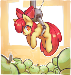 Size: 2600x2765 | Tagged: safe, artist:mirroredsea, apple bloom, earth pony, pony, :o, adorabloom, apple, blank flank, bow, c:, claw machine, confused, crane game, cute, event horizon of cuteness, featured image, female, filly, food, green apple, hair bow, holding a pony, looking down, no pupils, open mouth, smiling, solo