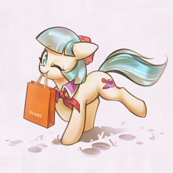 Size: 3000x3000 | Tagged: safe, artist:mirroredsea, coco pommel, earth pony, pony, bag, cocobetes, cute, female, mare, mouth hold, one eye closed, paper bag, solo, wink