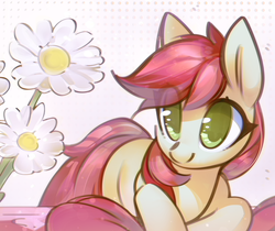 Size: 3000x2522 | Tagged: artist:mirroredsea, cute, cuteluck, earth pony, eye clipping through hair, female, flower, mare, missing cutie mark, no pupils, pony, roseluck, safe, solo