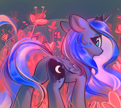 Size: 1200x1076   Tagged: safe, artist:mirroredsea, princess luna, alicorn, pony, abstract background, butt, cute, female, floppy ears, flower, lidded eyes, looking at you, looking back, looking back at you, lunabetes, mare, plot, solo