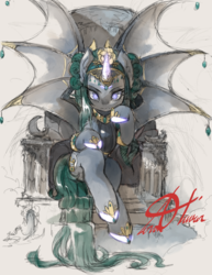 Size: 1275x1650   Tagged: safe, alternate version, artist:alts-art, oc, oc only, oc:empress, alicorn, bat pony, bat pony alicorn, monster pony, pony, alicorn oc, amulet, bat pony oc, colored sketch, crescent moon, curved horn, empress, fangs, flower, flower in hair, gray background, hoof shoes, horn, jewelry, long tail, looking at you, moon, signature, simple background, sitting, sketch, solo, throne, traditional art, watercolor painting