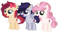 Size: 4932x2750 | Tagged: artist:starling-sentry-yt, base used, earth pony, female, filly, oc, oc:apple dance, oc:beauty spirit, oc only, oc:speed stroke, offspring, parent:apple bloom, parent:button mash, parent:rumble, parent:scootaloo, parents:rumbloo, parents:sweetiemash, parents:tenderbloom, parent:sweetie belle, parent:tender taps, pegasus, pony, safe, simple background, transparent background, unicorn