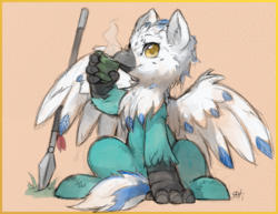 Size: 2475x1914 | Tagged: safe, artist:alts-art, oc, oc only, oc:sea foam, classical hippogriff, hippogriff, beak, colored plumage, colored sketch, colored wings, food, grass, hippogriff oc, looking at you, orange background, plumage, simple background, sketch, solo, spear, spread wings, talons, tea, watercolor painting, weapon, wings