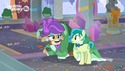 Size: 1366x768 | Tagged: alternate hairstyle, bow, bowtie, carpet, clothes, cloven hooves, confetti, discovery family logo, dress, duo, ear piercing, earring, earth pony, eyeshadow, female, jewelry, makeup, male, pearl earrings, piercing, pony, purple hair, safe, sandbar, screencap, she's all yak, spoiler:s09e07, teenager, wig, yak, yona