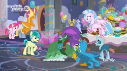 Size: 1366x768 | Tagged: balloon, blinded, bowtie, braid, bucket, clothes, discovery family logo, dress, flower, flying, gallus, misleading thumbnail, ocellus, safe, sandbar, screencap, she's all yak, silverstream, smolder, spoiler:s09e07, student six, wig, yona