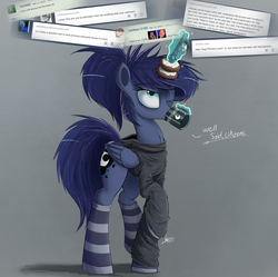 Size: 1500x1491 | Tagged: safe, alternate version, artist:ncmares, princess luna, alicorn, pony, ask majesty incarnate, alternate hairstyle, ask, chest fluff, clothes, coffee, dialogue, donut, drinking, ear fluff, female, food, horn, horn impalement, magic, mare, one eye closed, ponytail, socks, solo, striped socks, telekinesis, text, the uses of unicorn horns, tumblr
