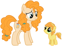 Size: 2088x1540 | Tagged: artist needed, aunt and nephew, blank flank, braeburn, cheering up, colt, comforting, cutie mark, family, male, mother's day, pear butter, sad, safe, upset, vector, younger
