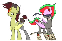 Size: 1500x1000 | Tagged: amputee, artist:anyazenadopts, artist:icey-wicey-1517, bat pony, blind, blindfold, collaboration, colored, color edit, cyborg, edit, female, food, hairclip, hoof wraps, mare, mask, multicolored hair, ninja, oc, oc only, oc:sea metal, oc:strawberry slices, outfit, pegasus, pony, prosthetic limb, prosthetics, safe, simple background, strawberry, tail wrap, tape, transparent background