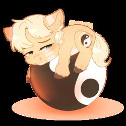 Size: 3500x3500 | Tagged: safe, artist:rizzych, oc, oc only, oc:graze, earth pony, pony, ball, chibi, cloven hooves, fluffy, male, sleepy, solo, stallion, yin-yang