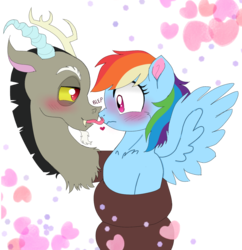 Size: 1444x1491 | Tagged: artist:unoriginai, blushing, coils, cute, discodash, discord, female, heart, licking, male, :p, rainbow dash, safe, shipping, simple background, spread wings, straight, tongue out, transparent background, wingboner, wings, wrapped up