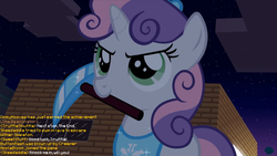 Size: 1063x598 | Tagged: safe, artist:jan, edit, sweetie belle, don't mine at night, cute, dialogue, diamond pickaxe, diasweetes, g1, g1 to g4, generation leap, implied apple bloom, implied button mash, implied dinky, implied skeedaddle, implied sweet stuff, implied truffle shuffle, minecraft, peytral, pickaxe, text