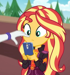 Size: 680x720   Tagged: safe, screencap, rarity, sunset shimmer, equestria girls, equestria girls series, festival filters, spoiler:eqg series (season 2), boop, cellphone, cropped, female, geode of empathy, magical geodes, music festival outfit, offscreen character, phone, smartphone, solo focus