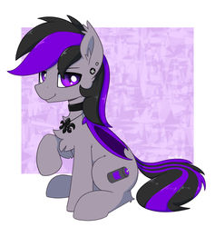 Size: 1280x1350 | Tagged: safe, artist:puetsua, oc, oc only, oc:nyro, bat pony, pony, bat wings, chest fluff, choker, ear fluff, ear piercing, earring, folded wings, jewelry, necklace, piercing, raised hoof, simple background, sitting, solo, white background, wings