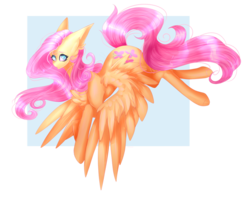 Size: 1024x818 | Tagged: safe, artist:miereluna, fluttershy, pegasus, pony, abstract background, chest fluff, cute, ear fluff, female, mare, no pupils, shyabetes, simple background, solo, spread wings, transparent background, wing fluff, wings