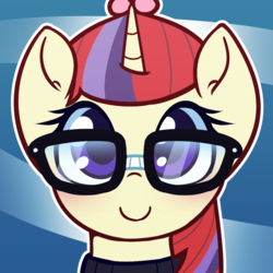 Size: 1000x1000 | Tagged: abstract background, artist:puetsua, avatar, blushing, bust, clothes, cute, dancerbetes, female, glasses, looking at you, mare, moondancer, part of a set, pony, portrait, safe, smiling, solo, sweater, unicorn
