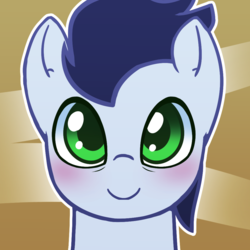 Size: 1000x1000 | Tagged: abstract background, artist:puetsua, avatar, blushing, bust, looking at you, male, part of a set, pegasus, pony, portrait, safe, smiling, soarin', soarinbetes, solo, stallion