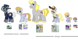Size: 3888x1944 | Tagged: artist:thecheeseburger, crackle pop, derpy hooves, dipsy hooves, earth pony, family, food, graceful falls, group, hughbert jellius, hugh jelly, looking at you, mr. zippy, muffin, pegasus, pony, safe, shipping, siblings, simple background, smiling, transparent background, unicorn
