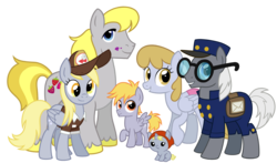 Size: 2088x1224 | Tagged: safe, artist:thecheeseburger, crackle pop, derpy hooves, dipsy hooves, hugh jelly, mr. zippy, earth pony, pegasus, pony, unicorn, family, food, graceful falls, group, hat, hughbert jellius, looking at you, mail, mailbag, mailmare, muffin, parent, siblings, simple background, smiling, transparent background