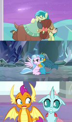 Size: 1920x3240 | Tagged: a matter of principals, bow, catacomb, changedling, changeling, classical hippogriff, cloven hooves, cute, dragon, earth pony, female, gallstream, gallus, griffon, hair bow, hippogriff, hug, implied lesbian, implied shipping, implied smolcellus, interspecies, looking at each other, male, monkey swings, not sure if want, ocellus, pony, safe, sandbar, screencap, she's all yak, shipping, shipping fuel, shooting star, silverstream, smolcellus, smolder, spoiler:s09e07, straight, student six, teenager, what lies beneath, yak, yona, yonabar