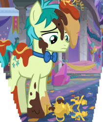 Size: 1970x2329 | Tagged: safe, composite screencap, edit, edited screencap, screencap, sandbar, earth pony, pony, she's all yak, spoiler:s09e07, balloon, bowtie, crystal, food, male, mess, messy, panorama, sad, stallion, streamers, trophy