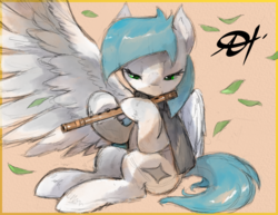 Size: 2475x1914 | Tagged: safe, artist:alts-art, oc, oc only, oc:cynosura, pegasus, pony, bamboo, clothes, colored sketch, female, flute, leaves, lidded eyes, looking down, mare, musical instrument, orange background, playing instrument, scarf, signature, simple background, sitting, sketch, solo, spread wings, unshorn fetlocks, watercolor painting, wings