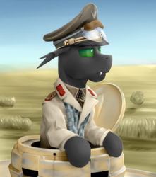 Size: 1920x2170 | Tagged: safe, artist:richmay, oc, oc only, changeling, equestria at war mod, afrika korps, army, bust, cap, changeling oc, clothes, commission, desert, green changeling, hat, military, military uniform, panzer iii, portrait, tank (vehicle), uniform, war, wehrmacht, world war ii