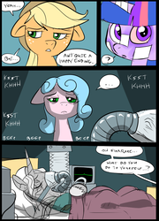 Size: 696x965 | Tagged: safe, artist:metal-kitty, applejack, twilight sparkle, oc, oc:lockette, oc:starflare (mlp project), pony, comic:mlp project, 2016, bandage, bed, comic, hospital bed, respirator