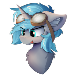 Size: 1250x1250 | Tagged: safe, artist:lunar froxy, oc, oc only, oc:rym, pony, unicorn, bust, cheek fluff, chest fluff, ear fluff, eye clipping through hair, female, fluffy, goggles, mare, simple background, solo, transparent background