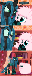 Size: 650x1500 | Tagged: ..., adoracreepy, anxiety, artist:mixermike622, book, breakdown, canon x oc, changeling, changeling queen, chrysipuff, clothes, comic, creepy, cropped, crying, crying inside, cute, dark comedy, dialogue, duo, edit, eye contact, fangs, fear, female, forced, golden oaks library, grimderp, hardcore, help me, humor, hyperventilating, intimidating, knife, lesbian, looking at each other, mare, menacing, mouth hold, nervous, obey, oc, oc:fluffle puff, oh crap, oh crap face, open mouth, overly attached girlfriend, panic, panic attack, pony, queen chrysalis, sad, sadorable, safe, savage, scared, shipping, shocked, shrunken pupils, smiling, sobbing, socks, speech bubble, spread wings, striped socks, sweat, teary eyes, threat, threatening, tumblr:ask fluffle puff, weapon, wide eyes, wings, worried, yandere