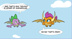 Size: 3553x1945   Tagged: safe, artist:chedx, smolder, spike, dragon, comic:claws and hooves, cropped, dragoness, female, implied twilight sparkle, they're just so cheesy, winged spike