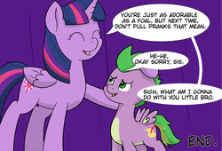 Size: 3413x2321 | Tagged: safe, artist:chedx, spike, twilight sparkle, alicorn, comic:claws and hooves, cropped, cute, ponified, ponified spike, species swap, twilight sparkle (alicorn)