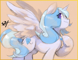 Size: 2475x1914 | Tagged: safe, artist:alts-art, oc, oc only, alicorn, pony, alicorn oc, amulet, colored sketch, female, horn, jewelry, looking up, magic, mare, multicolored hair, multicolored tail, orange background, pose, signature, simple background, sketch, solo, spread wings, watercolor painting, wings