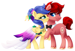 Size: 1024x691 | Tagged: safe, artist:xnightmelody, oc, oc only, oc:north star, oc:wineberry, earth pony, pegasus, pony, clothes, dress, female, gala dress, male, mare, simple background, stallion, transparent background, winestar