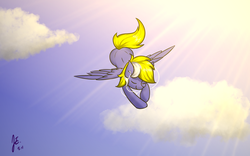 Size: 960x600 | Tagged: safe, artist:jerryenderby, oc, oc only, oc:enderby, pegasus, pony, cloud, flying, listening, music, sky, solo