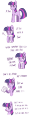 Size: 1080x4320 | Tagged: safe, artist:tastyrainbow, twilight sparkle, pony, unicorn, angry, blank flank, blushing, book, bookhorse, bust, comic, cute, dialogue, featured image, female, floating heart, frown, glare, heart, hoof hold, hug, lidded eyes, looking at you, madorable, mare, missing cutie mark, open mouth, simple, simple background, smiling, solo, sweet dreams fuel, talking to viewer, text, that pony sure does love books, truth, twi, twiabetes, unicorn twilight, white background, wholesome
