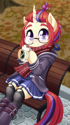 Size: 1440x2560 | Tagged: safe, artist:dstears, moondancer, unicorn, semi-anthro, adorkable, bench, boots, clothes, cup, cute, daaaaaaaaaaaw, dancerbetes, dork, drink, fate/grand order, female, garters, glasses, hoodie, hoof hold, looking at you, mare, miniskirt, moe, pleated skirt, scarf, scenery, shoes, sitting, skirt, socks, solo, stockings, thigh highs