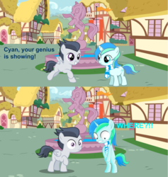 Size: 918x968 | Tagged: artist:jawsandgumballfan24, blushing, clothes, colt, comic, covering, cute, edit, foal, male, oc, ocbetes, oc:cyan lightning, pegasus, penis joke, pony, ponyville, rumble, safe, scarf, spongebob squarepants, texas, unicorn, we don't normally wear clothes