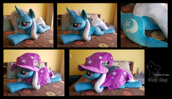 Size: 10821x6223 | Tagged: safe, artist:wollyshop, trixie, pony, bed, butt, cape, clothes, female, hat, irl, photo, plot, plushie, trixie's cape, trixie's hat