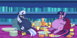 Size: 6000x3007 | Tagged: safe, artist:steampunk-brony, twilight sparkle, oc, oc:silverlay, alicorn, pony, unicorn, adorafatty, belly, belly button, big belly, bloated, blushing, burger, cake, cushion, cute, eating, fat, female, food, jar, junk food, large belly, mare, messy eating, obese, ocbetes, overeating, plate, princess twilard, request, requested art, silvabetes, silverlard, sisters, sitting, soda, squishy, squishy belly, stomach noise, stuffed, that pony sure does love burgers, that pony sure does love cakes, twilard sparkle, twilight burgkle, twilight sparkle (alicorn), umbra pony, weight gain
