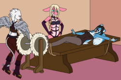 Size: 1650x1098 | Tagged: anthro, anthro oc, armpits, artist:linedraweer, bdsm, bondage, commission, female, femdom, griffon, laughing, oc, oc:gina, oc only, safe, shark, squirrel, table, tickle torture, tickling, tickling machine, tied up, your character here