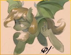 Size: 2475x1914 | Tagged: safe, artist:alts-art, oc, oc only, oc:shaded rest, bat pony, pony, bat pony oc, bat wings, colored sketch, lidded eyes, looking at you, male, orange background, ponytail, signature, simple background, sketch, smiling, smirk, solo, spread wings, stallion, unshorn fetlocks, watercolor painting, wing claws, wings