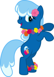 Size: 6000x8433 | Tagged: safe, artist:pilot231, oc, oc only, oc:sea foam ep, pony, dancing, flower on ear, hula dance, lei, one eye open, solo, vector