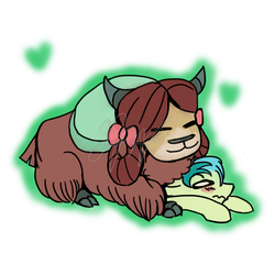 Size: 1280x1280 | Tagged: safe, artist:musicsketcher329, sandbar, yona, earth pony, pony, yak, she's all yak, blushing, bow, cloven hooves, cuddling, cute, eyes closed, female, floppy ears, hair bow, heart, interspecies, male, monkey swings, obtrusive watermark, on top, prone, sandabetes, shipping, signature, simple background, sitting on, sitting on pony, smiling, straight, stuck, teenager, watermark, wavy mouth, white background, yonabar, yonadorable