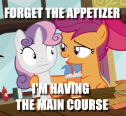 Size: 609x557 | Tagged: safe, edit, edited screencap, screencap, scootaloo, sweetie belle, pegasus, pony, unicorn, twilight time, caption, cropped, female, filly, image macro, implied scootabelle, innuendo, text, wide eyes