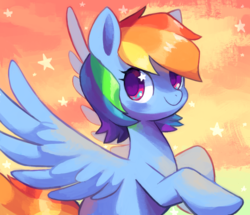 Size: 1180x1013 | Tagged: artist:psiaus, beautiful, cute, dashabetes, female, mare, pegasus, pony, rainbow dash, safe, solo, sparkles, spread wings, starry eyes, stars, wingding eyes, wings